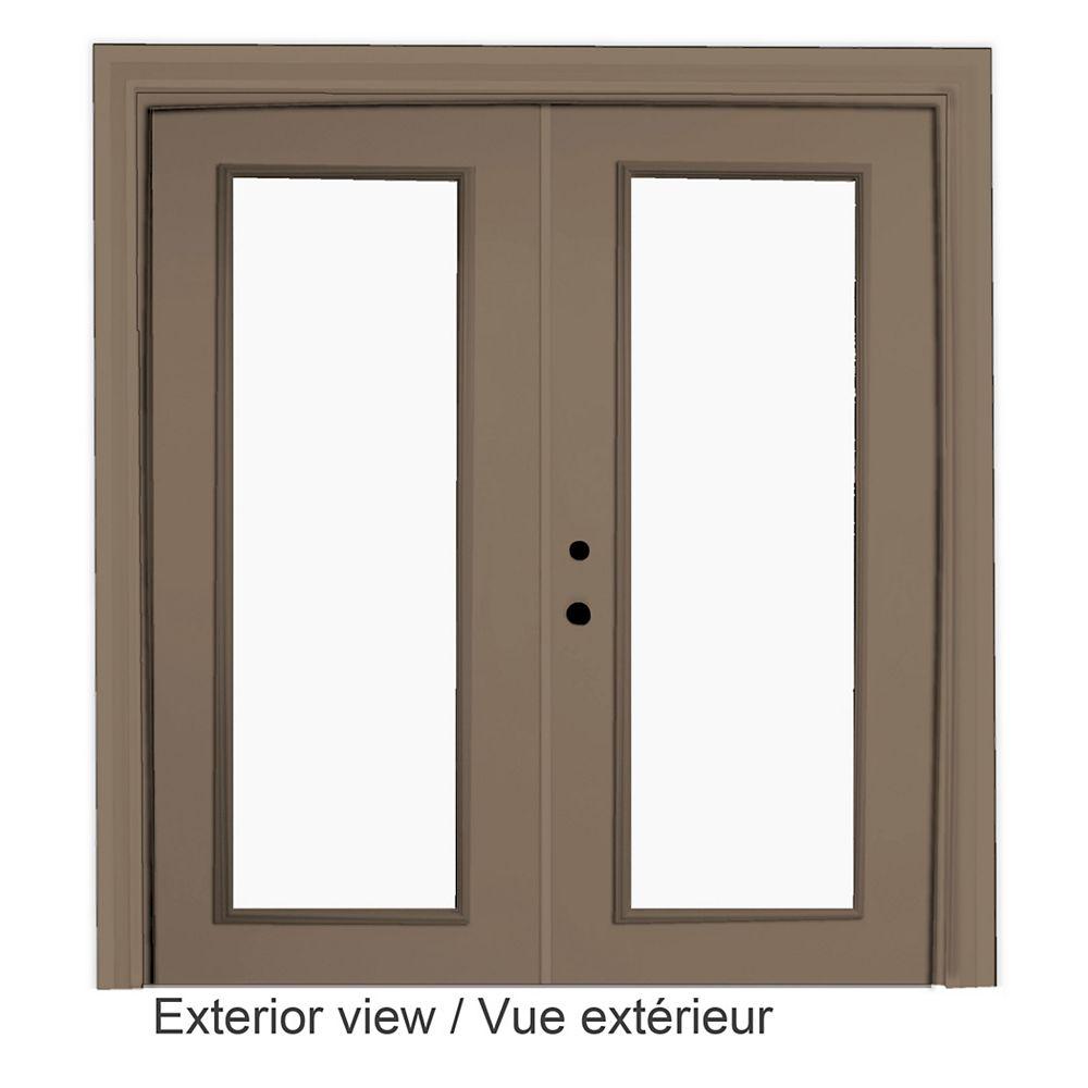 """STANLEY Doors Portefenêtre en acier (6' sur 82375"""") préfinie intérieur blanc et extérieur kaki, LowE Argon - ENERGY STAR®"""