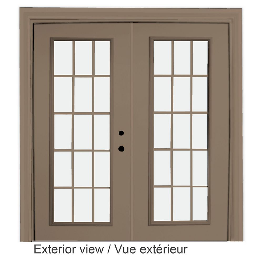 """STANLEY Doors Porte en acier-15 lite carrelage intérieur blanc, extérieur kaki plat, intégré (5' sur 82375"""") LowE Argon - ENERGY STAR®"""