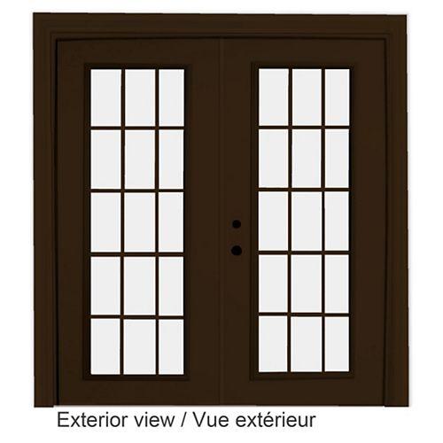 STANLEY Doors 61 inch x 82.375 inch Clear LowE Argon Painted Commercial Brown Right-Hand Steel Garden Door with 15-Lite Internal Grill - ENERGY STAR®
