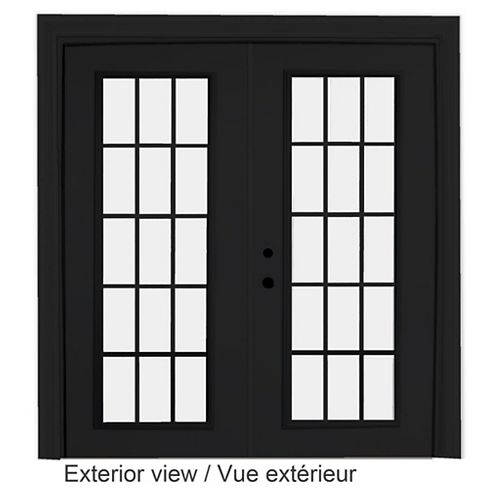 STANLEY Doors 71 inch x 82.375 inch Clear LowE Argon Painted Black Right-Hand Steel Garden Door with 15-Lite Internal Grill - ENERGY STAR®