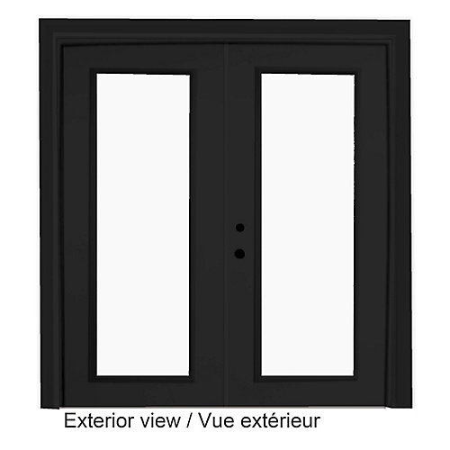 61 inch x 82.375 inch Clear LowE Argon Painted Black Right-Hand Steel Garden Door with 7-1/4 inch Jamb - ENERGY STAR®