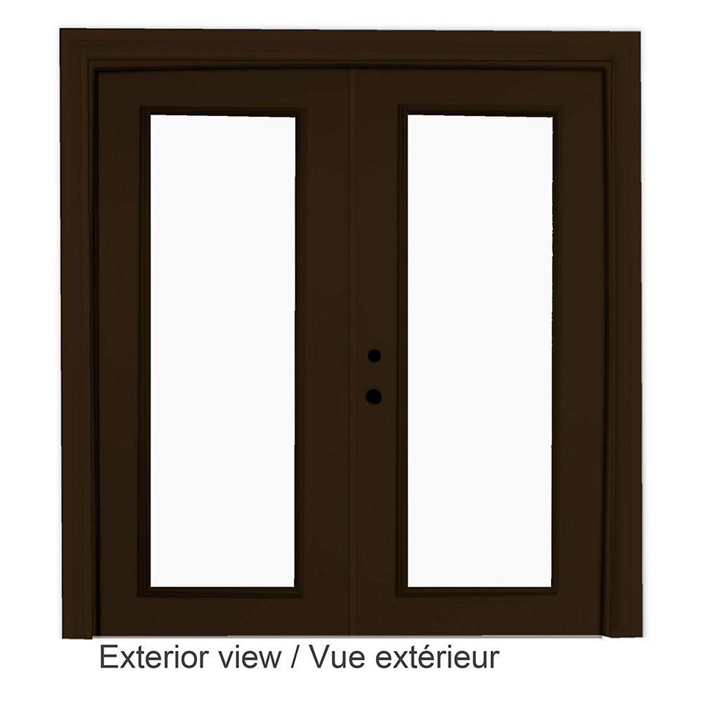 "STANLEY Doors Porte-fenêtre en acier brun (6' sur 82375"") LowE Argon - ENERGY STAR®"