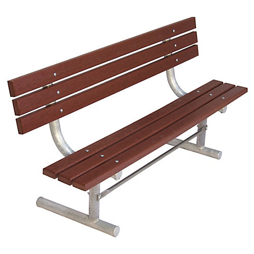 6 ft. Commercial Recycled Plastic Portable Bench with Back in Brown