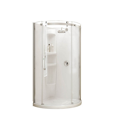 Olympia Corner-Fit 36-inch x 36-inch x 77 1/2-inch Round Shower Stall with Left-Hand Tempered Glass Door