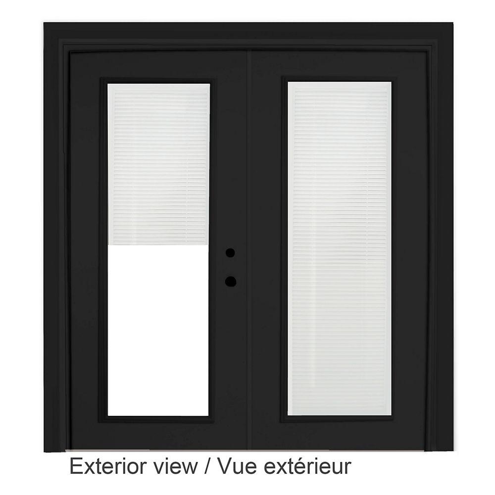 """STANLEY Doors Porte en acier noir - Store à mini-lamelles intégré disponibles en blanc uniquement  (5' sur 82375"""")"""