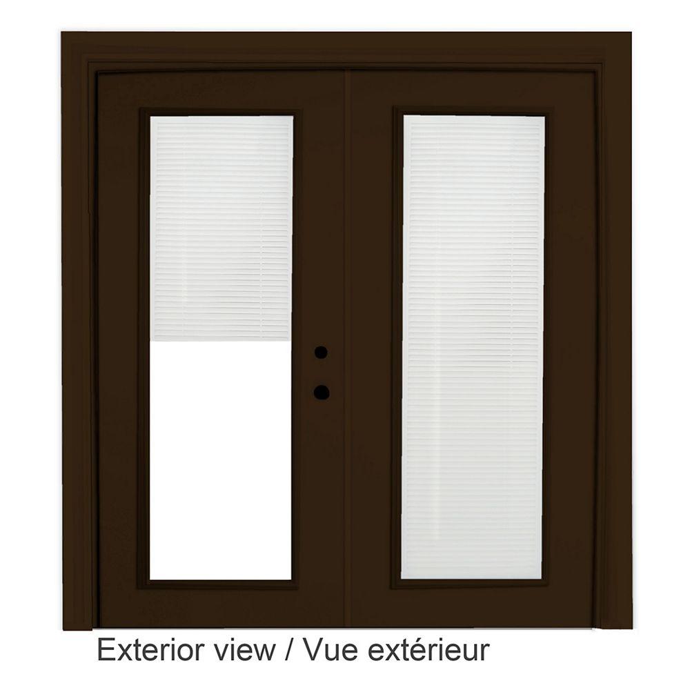 """STANLEY Doors Porte en acier brun - Store à mini-lamelles intégré disponibles en blanc uniquement (5' sur 82375"""")"""