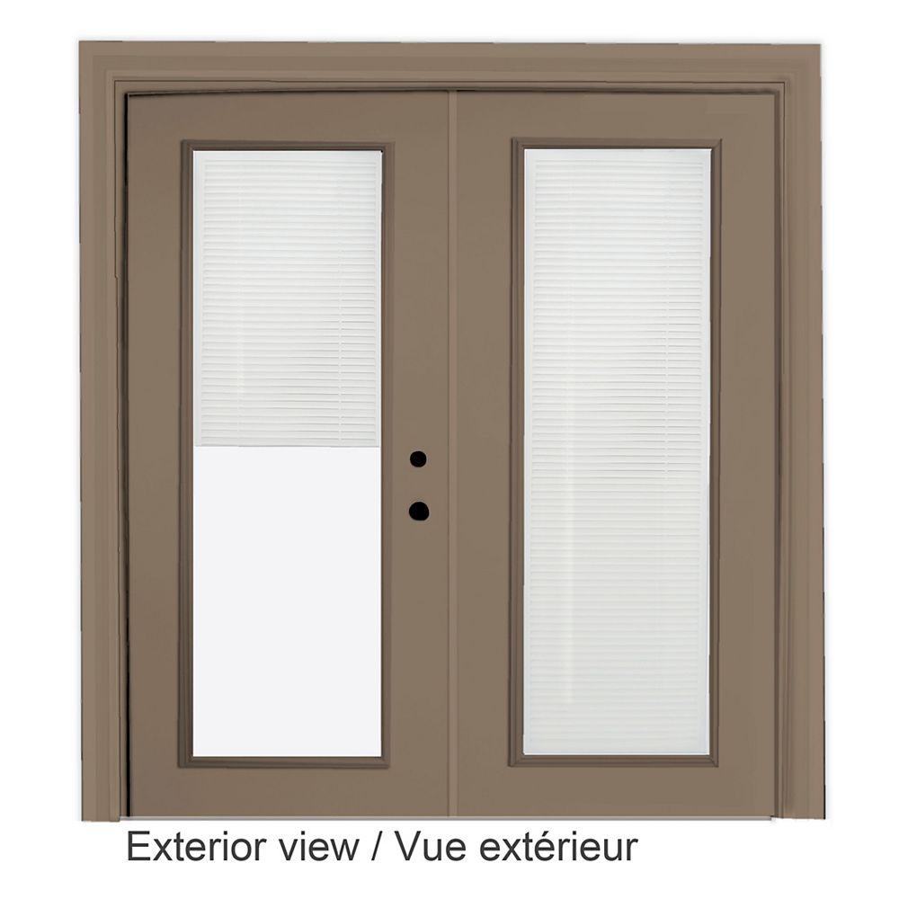 """STANLEY Doors Porte en acier kaki - Store à mini - lamelles intégré disponibles en blanc uniquement (6' sur 82375"""")"""