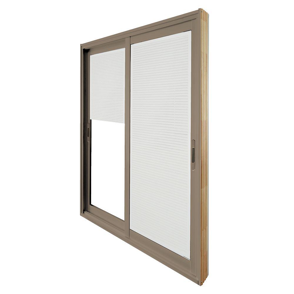 STANLEY Doors Double porte panoramique coulissante - store à mini-lamelles intégré disponibles en blanc. -  (72 po x 80 po) intérieur blanc, extérieur kaki - ENERGY STAR®