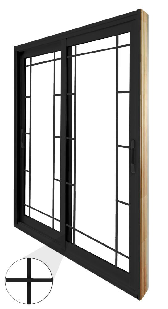 59.75 inch x 79.75 inch Clear LowE Argon Painted Black Double Sliding Vinyl Patio Door - ENERGY STAR®