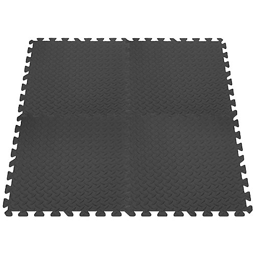 Anti-Fatigue Interlocking Mats - Grey - 24 Inches x 24 Inches (4-Pack)