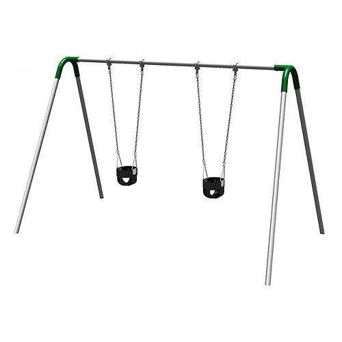 Single Bay Bipod Swing Set with Tot Seats & Green Yokes