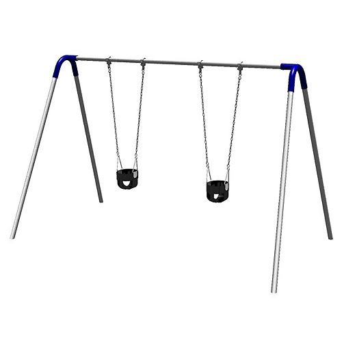 Single Bay Commercial Grade Bipod Swing Set with Tot Seats and Blue Yokes