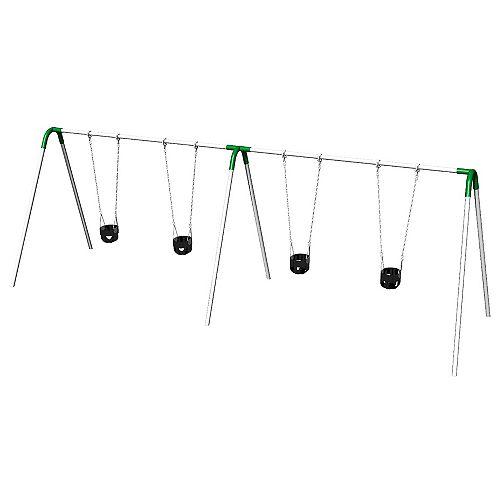 Double Bay Bipod Swing Set with Tot Seats & Green Yokes