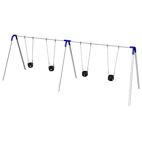 Double Bay Bipod Swing Set with Tot Seats & Blue Yokes
