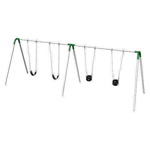 Double Bay Bipod Swing Set with 2 Tot Seats, 2 Strap Seats & Green Yokes