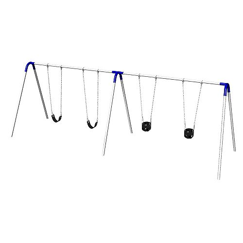 Double Bay Commercial Grade Bipod Swing Set with 2 Tot Seats, 2 Strap Seats, and Blue Yokes