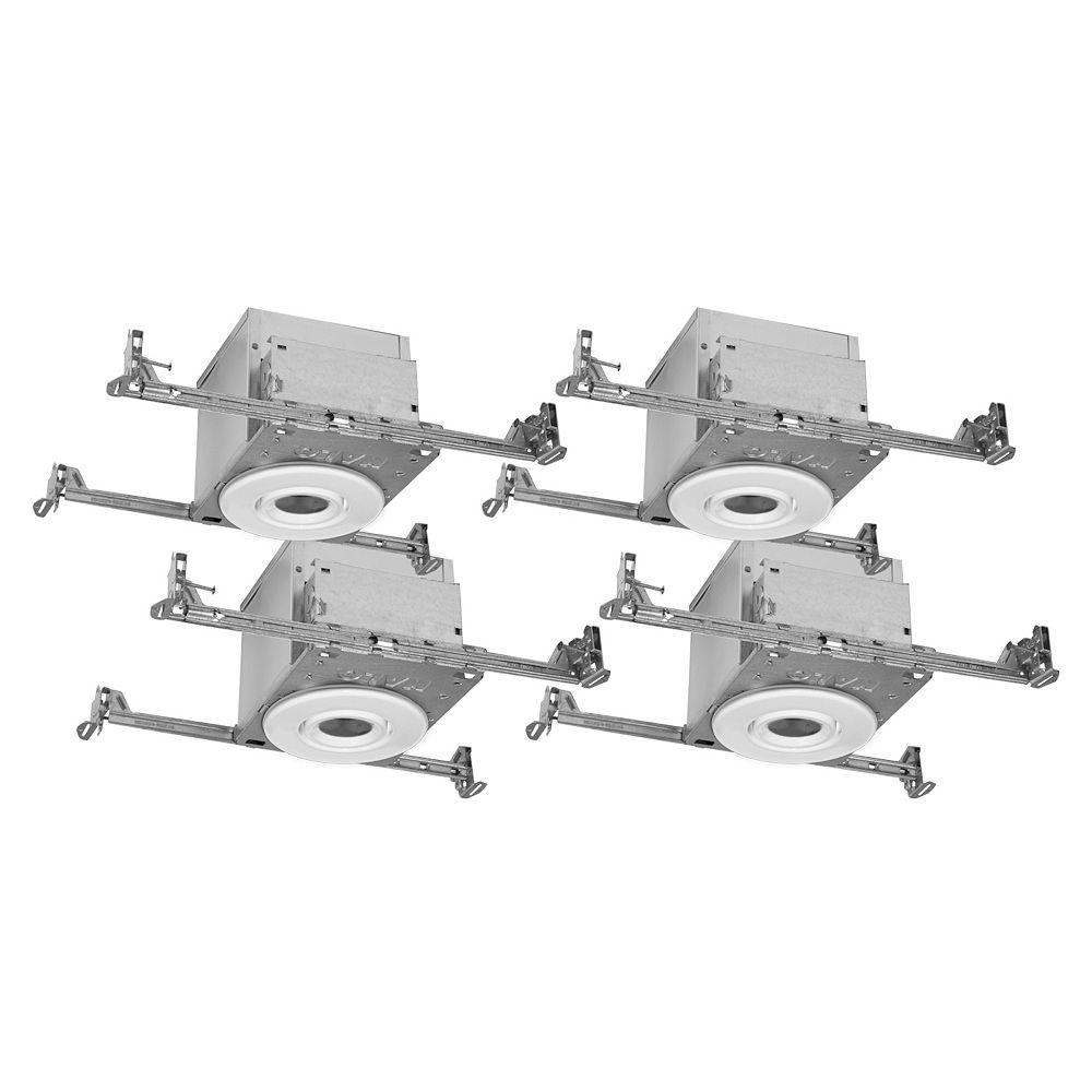 """Halo 4 Inch White GU10 Flush Gimbal Trims w 4"""""""" IC rated Air-Tite New Construction Housings - (4-Pack)"""