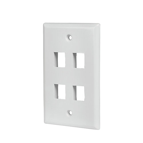 4-Port Wall Plate - White