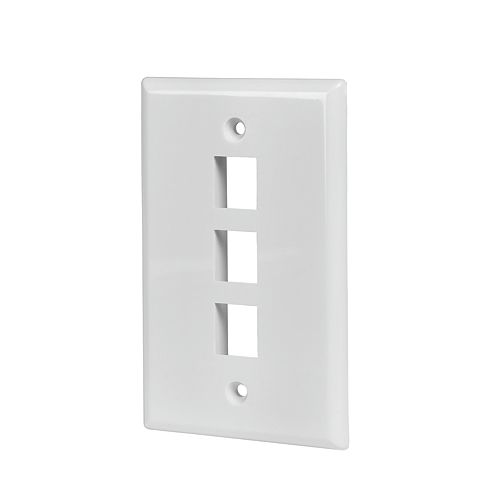 Commercial Electric 3-Port Wall Plate, White (5-Pack)