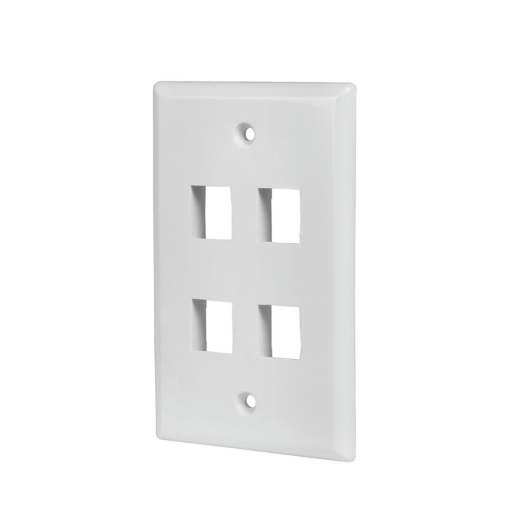 Commercial Electric 4-Port Wall Plate - White (5-Pack)