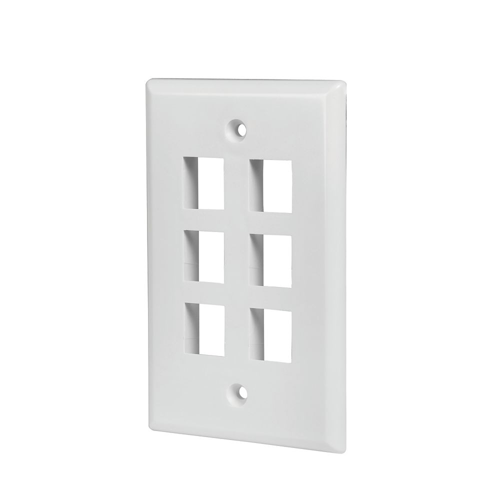 Commercial Electric 6-Port Wall Plate - White (5-Pack)