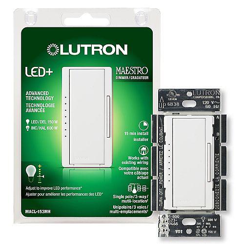 Gradateur Maestro LED+ pour ampoules à DEL/halo/incand, unipolaire/3 voies, blanc