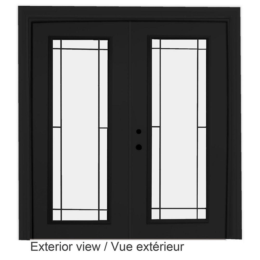 """STANLEY Doors Porte-fenêtre en acier - Style Prairie intérieur blanc et extérieur noir (5' sur 82375"""") LowE Argon - ENERGY STAR®"""