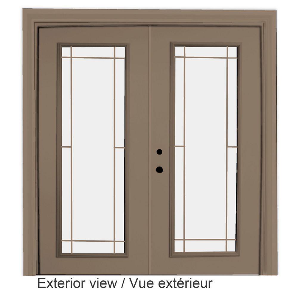 """STANLEY Doors Porte-fenêtre en acier - Style Prairie intérieur blanc et extérieur kaki  (5' sur 82375"""") LowE Argon - ENERGY STAR®"""