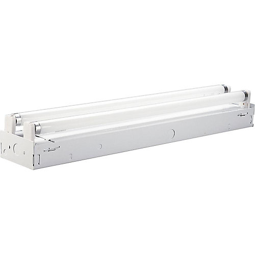 White 2-light, 24 inch Fluorescent Strip