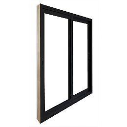 59.75 inch x 79.75 inch Clear LowE Argon Painted Black Double Sliding Vinyl Patio Door - ENERGY STAR®