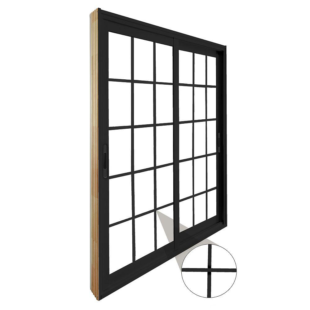 STANLEY Doors Double porte panoramique coulissante - 15 lite carrelage blanc, plat, intégré -  (60 po x 80 po) intérieur blanc , extérieur noir - ENERGY STAR®
