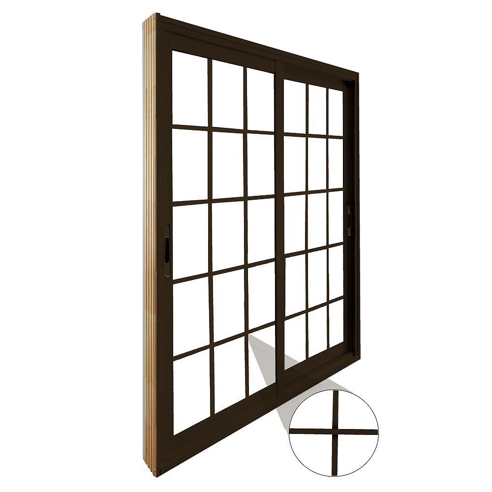STANLEY Doors Double porte panoramique coulissante  15 lite carrelage blanc, plat, intégré - (60 po x 80 po) intérieur blanc, extérieur brun commercial - ENERGY STAR®