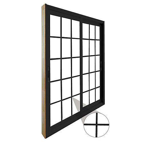 71.75 inch x 79.75 inch Clear LowE Argon Painted Black Double Sliding Vinyl Patio Door - ENERGY STAR®