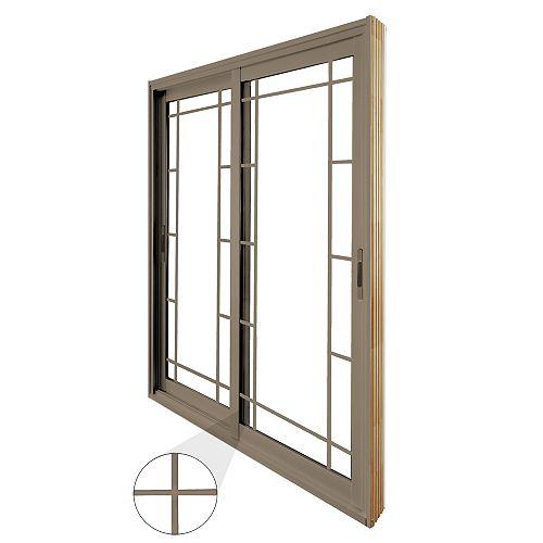 STANLEY Doors 59.75 inch x 79.75 inch Clear LowE Argon Painted Sandstone Double Sliding Vinyl Patio Door - ENERGY STAR®