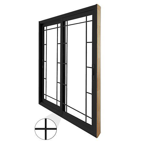 STANLEY Doors 71.75 inch x 79.75 inch Clear LowE Argon Painted Black Double Sliding Vinyl Patio Door - ENERGY STAR®