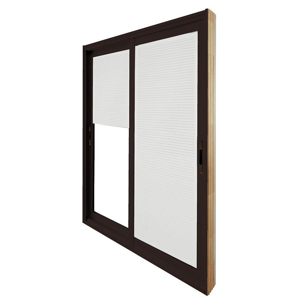 STANLEY Doors Double porte panoramique coulissante - store à mini-lamelles intégré disponibles en blanc. -  (60 po x 80 po)  intérieur blanc, extérieur brun commercial - ENERGY STAR®