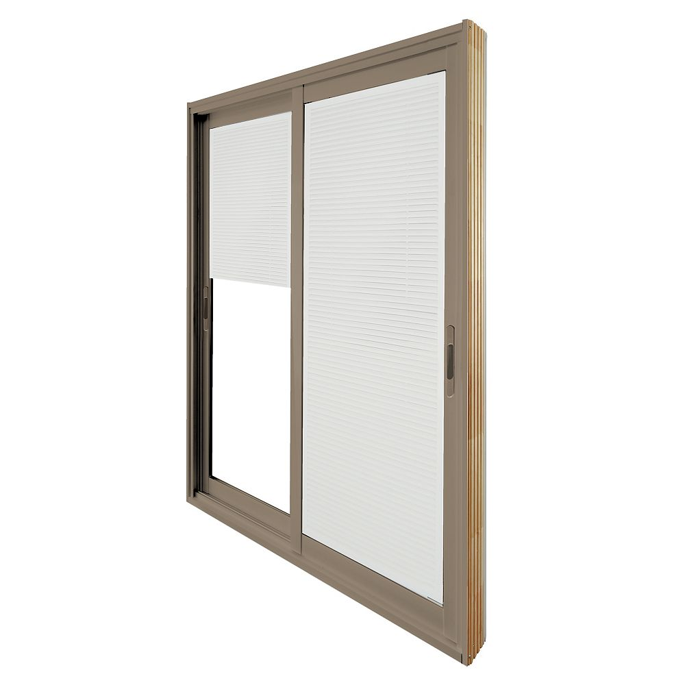 STANLEY Doors 71.75 inch x 79.75 inch Clear LowE Painted Sandstone Double Sliding Vinyl Patio Door with 7-1/4 inch Jamb and Internal Mini Blinds - ENERGY STAR®
