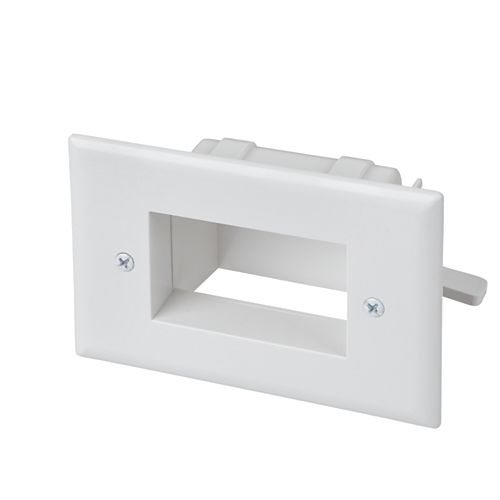 Low Voltage Recessed Cable Plate, White