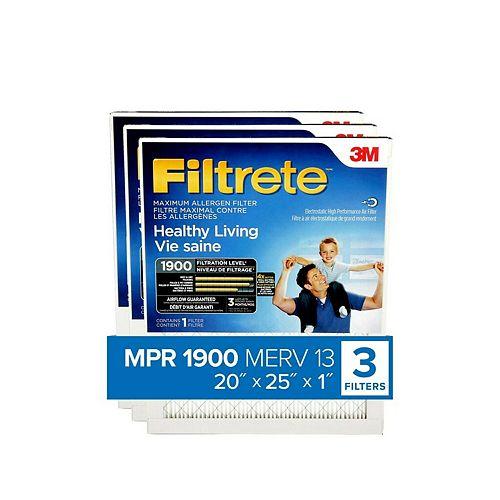 UA03-3 20 x 25 Paquet de 3 Filtrete filtre Ultime contre les allergènes