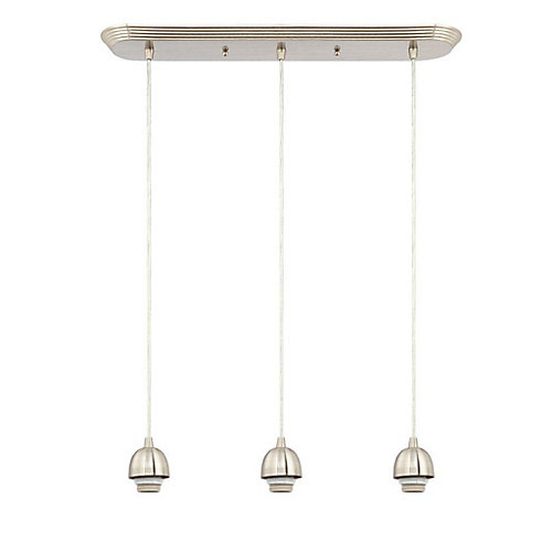 Three-Light Adjustable Mini Pendant, Brushed Nickel Finish