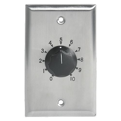100W Single Gang Stainless Steel 70.7V Commercial Attenuator