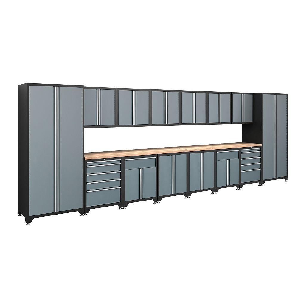 NewAge Products Inc. Pro Series Ensemble d'armoires soudées de 16 pièces avec cadre noir et portes grises