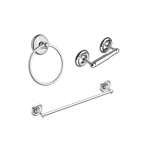 Yorkshire Bath Accessory Kit (3-Piece) with Towel Bar, Towel Ring and Paper Holder in Chrome