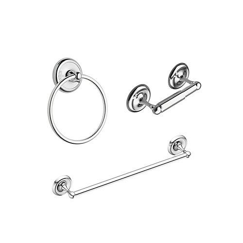 Kit d'accessoires de bain Yorkshire (3 pièces) en chrome