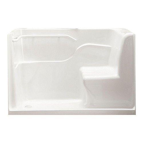 American Standard Baignoire rectangulaire de 1,5 m de long Drain gauche Douche de sécurité en blanc