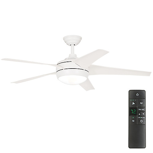 Windward IV 52-inch LED Indoor Matte White Ceiling Fan with Light Kit and Remote Control