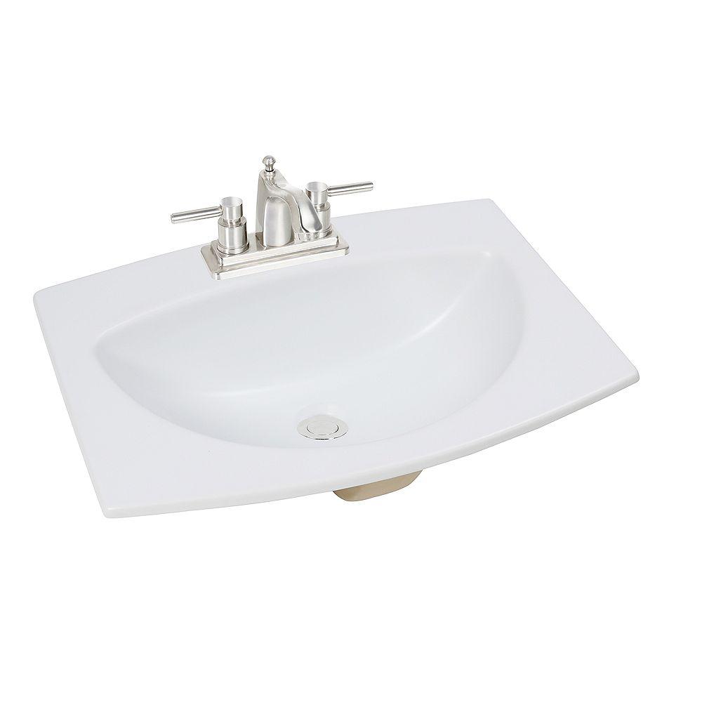 Glacier Bay 24-inch W x 18-inch D Rectangular Drop-In Bathroom Sink in Matte White