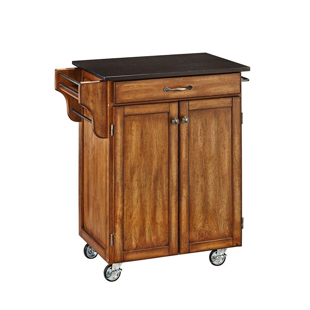 """Create A Cart Chariot de cuisine """"Cottage Oak""""  dessus granite noir"""