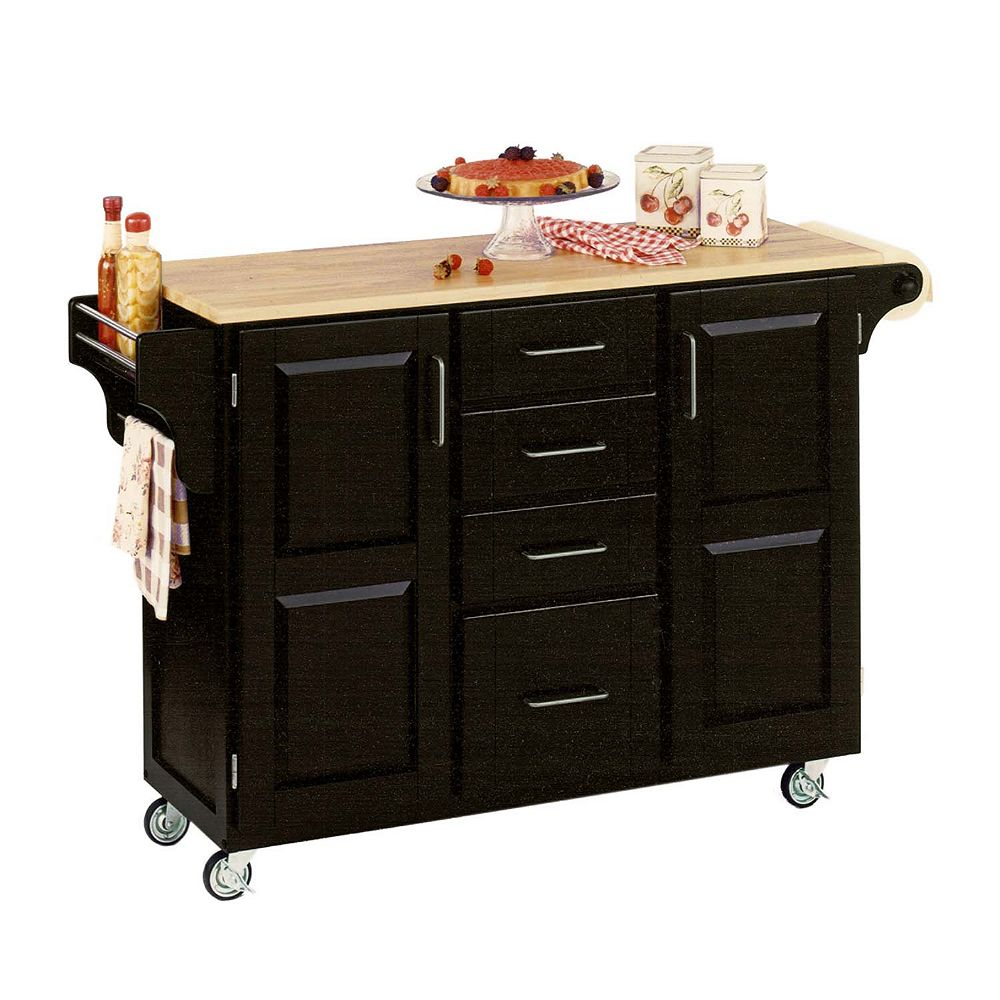 "Create A Cart Grand chariot de cuisine ""Create"" noir dessus bois naturel"