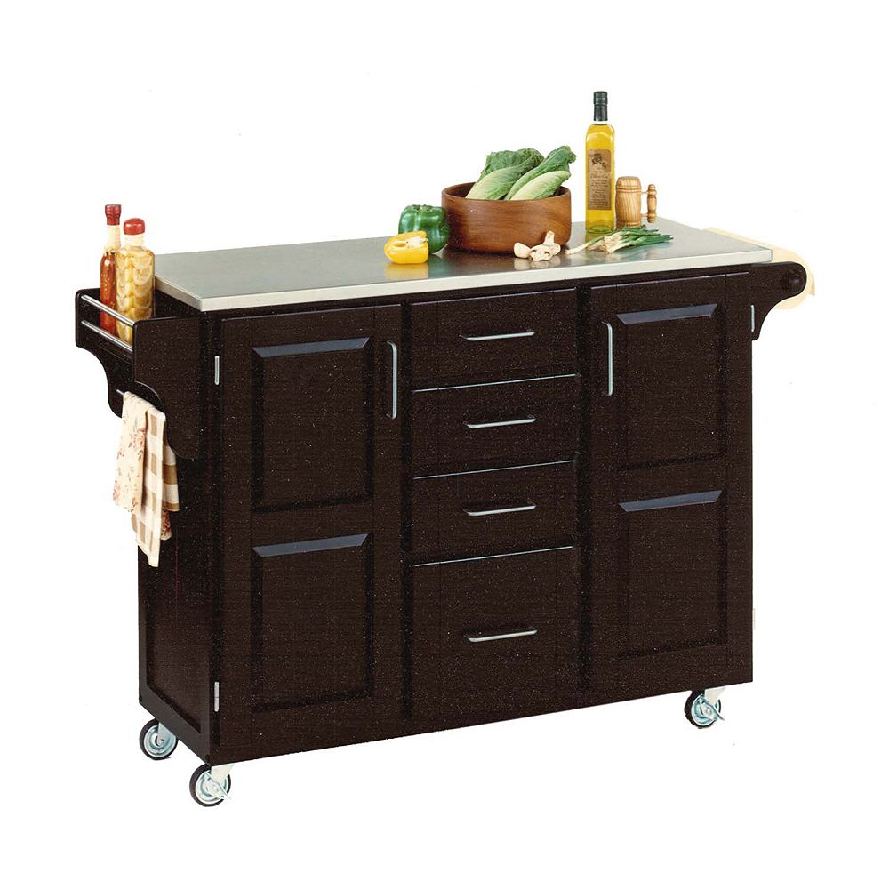 "Create A Cart Grand chariot de cuisine ""Create"" noir dessus acier inoxydable"